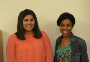 Alexis De La Rosa '15 (left) with fellow intern Lauren Footman '14.